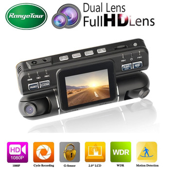 "Range Tour Dashcam Dual Lens Car DVR Camera Video Recorder I4000 Full HD 1080P 320 Degree 2.0""LCD G-Sensor Dash Cam Car Black Bo"