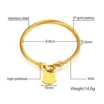 Vnox St. Benedictine Women Charms Bracelet & Bangles Catholicism Jewelry Twisted Wia Party Jewelry femme Friendship Bracelets