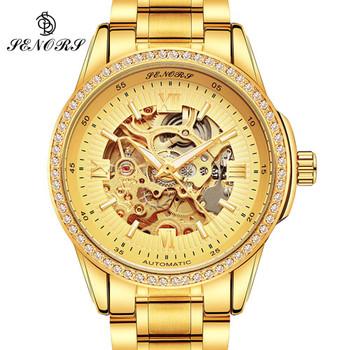 Automatic Mechanical Watch Men Hot Skeleton Watches Gold Bracelet Wristwatch Luxury Brand Mechanical Clock Male Self-winding