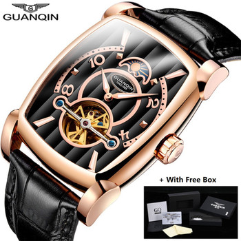 Hot GUANQIN Brand Mechanical Watches Men Luxury Tourbillon Skeleton Automatic Watch Rectangle Leather Gold Male Clock Man 2018