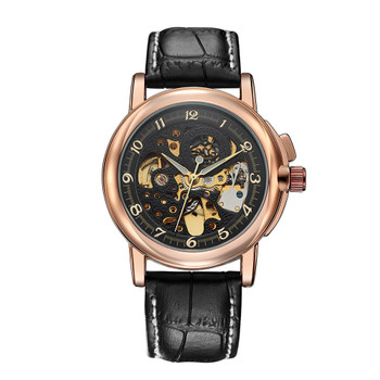 Hot Sale Antique Black Gold Automatic Skeleton Mechanical Watch Men Steampunk Retro Leather Analog Wrist Watches Horloges Mannen