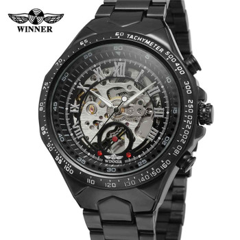 WINNER Mens Watches Automatic Mechanical Skeleton Top Brand Luxury Rome Men Watch Steel Strap Sport Military Male Clock Hot 0014