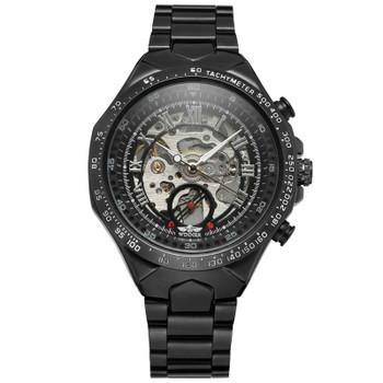 WINNER Mens Watches Automatic Mechanical Skeleton Top Brand Luxury Rome Men Watch Steel Strap Sport Military Male Clock Hot 0014
