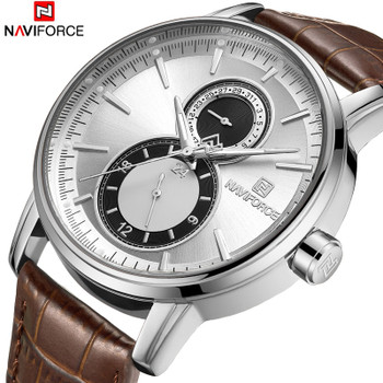 NAVIFORCE Men Watch Date Week Sport Mens Watches Top Brand Luxury Military Army Fashion Business Leather Strap Quartz Male Clock