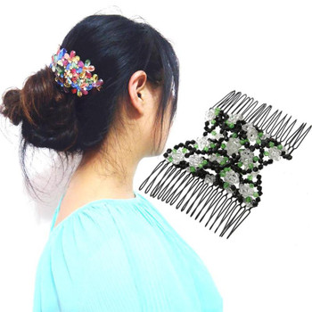 Vintage Flower Bead Stretchy Hair Combs Double Magic Slide Metal Comb Clip Hairpins For Women Hair Accessories Hair Jewelry Gift