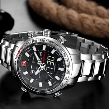 Mens Watches Luxury Fashion Sport Watch NAVIFORCE Brand Men Quartz Analog Digital Clock Male Waterproof Stainless Steel Watches