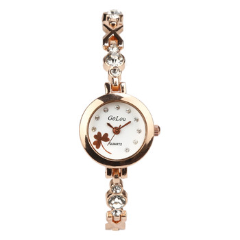 Hot Sales rose gold Clover dial watch Women Ladies crystal dress Quartz Wristwatches Relojes Mujer G-004