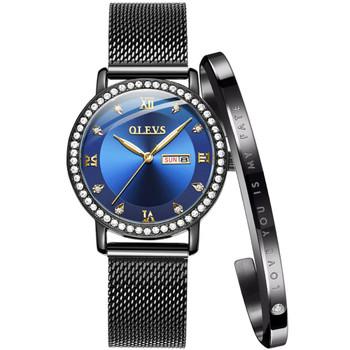 OLEVS Luxury Brand Lady's Crystal Watch Women Dress Waterproof Rose Gold Fashion Quartz Bracelet Watch Stainless Steel dropping