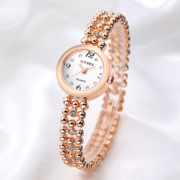 Hot Sales O.T.SEA Brand Rose Gold Bracelet Watches Women Ladies Rhinestone Crystal Dress Quartz Wristwatches OTS082