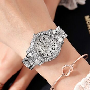 2018 Hot GEDI Fashion Rose Gold Women Watches Top Luxury Ladies Quartz Watch 2 Pieces Watches Full Rhinestone Dial Clocks Hours