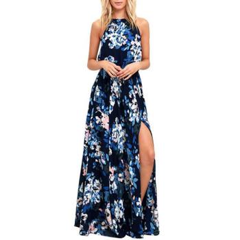 Beach Chiffon Maxi Long Dress Women Sexy Sleeveless Halter Floral Printed Dresses For Girls Lady Casual Boho Party Dress #Ju