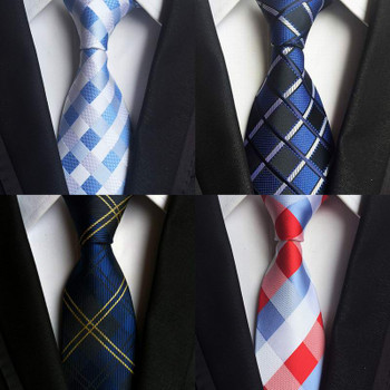 SKng Classic 100% Silk Mens Ties New Design Neck Ties 8cm Plaid&Striped Ties for Men Formal Business Wedding Party Gravatas