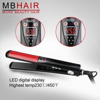 LCD Display Titanium plates Flat Iron Straightening Irons Styling Tools Professional Hair Straightener