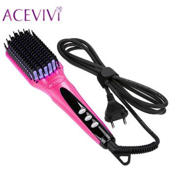 ACEVIVI Digital Electric Hair Straightener Brush Comb Detangling Straightening Irons Hair Brush EU/ US/ UK Plug