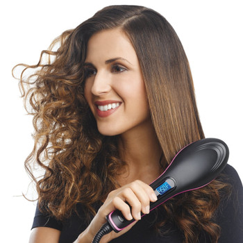 Simply Straight Ceramic Hair Straightening Brush Straightening Irons LCD Display Fast Hair Straightener Comb Best Gift