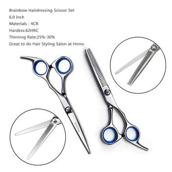 Brainbow 6 inch Cutting Thinning Styling Tool Hair Scissors Stainless Steel Salon Hairdressing Shears Regular Flat Teeth Blades
