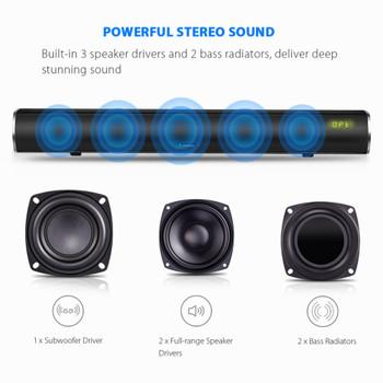 Arvicka Home Theater Soundbar 60W Wireless Sound bar 2.1 Channel Optical Bluetooth TV Soundbar with Subwoofer Home Speaker