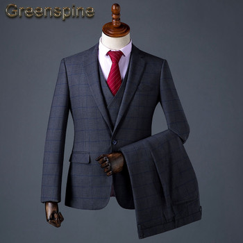 Mens Suits Wedding Groom Plus Size 3 Pieces(Jacket+Vest+Pant) Slim Fit Casual Tuxedo Suit Male 2018 Famous Brand ZM566