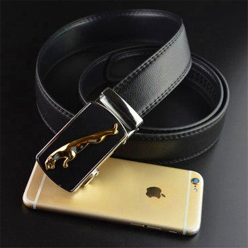 Jaguar pattern Men's automatic buckle belt Metal leopard leather belt for men Business casual Man suit belt