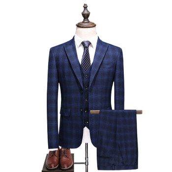 (Jacket+Vest+Pants) 2018 spring Men Suits Fashion Casual stripe Men's Slim Fit business wedding Suit men Wedding suit XF032