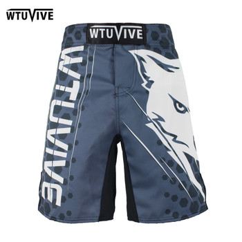 WTUVIVE MMA black and white cotton flower boxing movement training muay thai boxing short mma kickboxing Shorts Size loose sanda