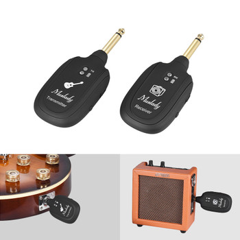 UHF Wireless Guitar Transmitter Receiver System Built-in Rechargeable Battery 50M Transmission Range for Electric Guitar Bass