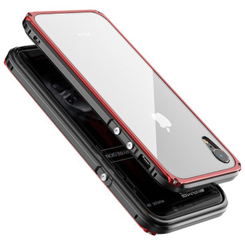 Metal Bumper Cases for iPhone XR Full Body Protection Shockproof Cover for iPhone XS Max Case With Tempered Glass Screen Guard