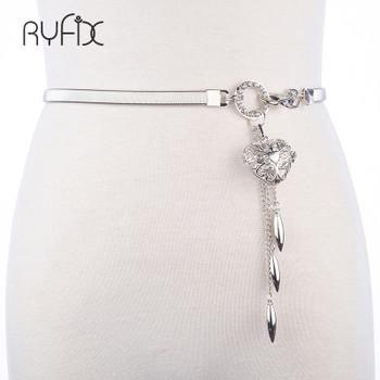 Women's Belts Hot Gold Belt Chain Elastic Stretch Metal Strap Silver Adjustable Luxury Chain Waist Dress heart pendant BL270
