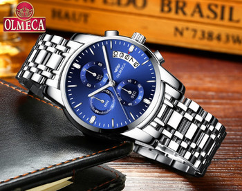 OLMECA Clock Military Relogio Masculino Waterproof Watches Stainless Steel Fashion Chronograph Wrist Watch Watches for men Blue