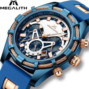 MEGALITH Mens Watches Top Brand Luxury Waterproof Blue Silicone Strap Sports Chronograph Quartz Wrist Watches Relogio Masculino