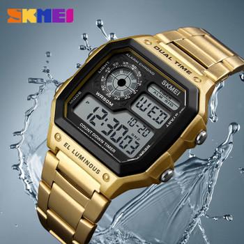SKMEI Business Men Watches Waterproof Casual Watch Stainless Steel Digital Wristwatch Clock Relogio Masculino Erkek Kol Saati