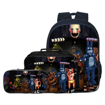 3pcs/set Fashion Cartoon Five Night At Freddy Children Backpacks Student Suit Bag Kids Baby School Bags Boys Schoolbag for Girls