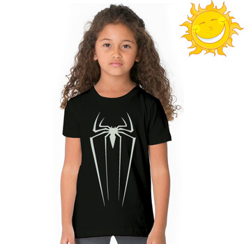 children boy girl t shirt Luminous Glow In Dark Fluorescent teens t-shirt Spiderman logo print top tee marvel kid Casual tshirt