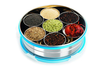 Steel Lock Stainless Steel Spice Container/ Masala Dabba With Stainless Steel Wati, Silver (Vacuum Steel Masala box)