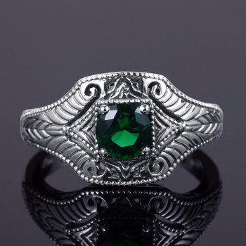 100% Real Pure 925 Sterling Silver Rings Green CZ Stone For Women Men Bulgaria Jewelry Vintage Design Silver Finger Ring