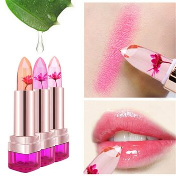 2016 Temperature Change Color Lip Balm 3 Color Waterproof Long-lasting Sweet Transparent Jelly Flower Pink Moisturizer Lipstick