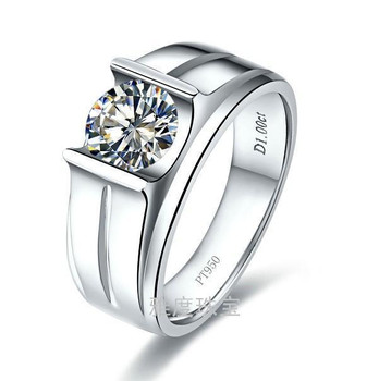 1 carat synthetic SONA stone Engagement rings for men,sterling silver ring, Men's weeding ring
