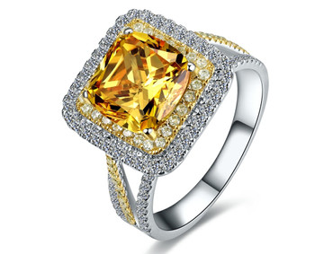 Hot 3ct Square Shape Yellow SONA simulated women ring,weeding ring,silver ring,brand ring