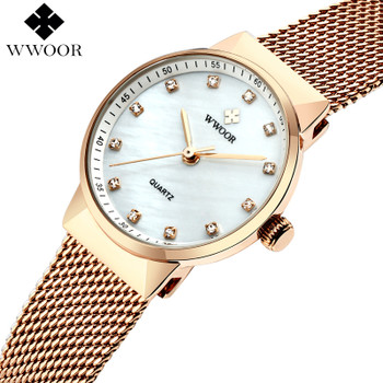 WWOOR 50m Waterproof Rose Gold Watch Women Quartz Watches Ladies Top Brand Luxury Female Wrist Watch Girl Clock Relogio Feminino