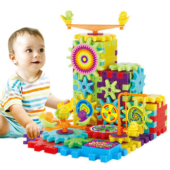 81Pcs Plastic Electric Gears 3D Puzzle Bricks Electric Building Kits Educational Toys For Kids Children Birthday Gift