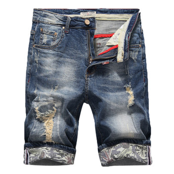 2020 Summer New Men's Slim Denim Shorts Fashion Elasticity Casual Old Ripped Jeans Short Male Brand Clothes