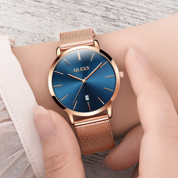 Genuine watch OLEVS Brand Luxury Women Watches Waterproof Business Rose Gold Stainless Steel Ladies Quartz Calendar Wrist watch