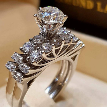 Rings For Women Dazzling Silver Natural Jewelry White Ring Bride Wedding Engagement Jewelry Ring Size 6 7 8 9 10