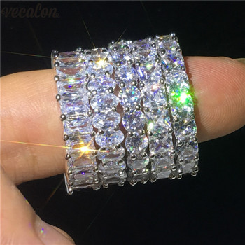 Vecalon 5 Style Finger Promise ring AAAAA Zircon Cz 925 Sterling Silver Engagement wedding Band rings for women Men jewelry