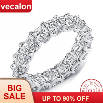 Vecalon Women Wedding Bands Ring 925 Sterling Silver Princess cut 4mm 5A Zircon Cz Engagement rings for women Finger Jewelry