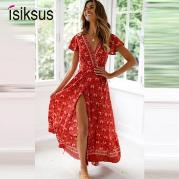 Isiksus Sexy Beach Summer Dress Women Boho Long Summer Dress Maxi Women Dress Elegant Floral Print 2019 Bohemian Sundress DR158