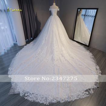 Loverxu Gorgeous Appliques Lace Chapel Train A-Line Wedding Dress 2019 Luxury Beaded Boat Neck Sexy Bridal Gown Vestido de Noiva