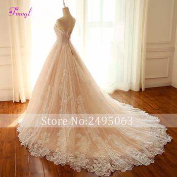 Fmogl New Arrival Romantic Strapless Lace Up A-Line Wedding Dresses 2019 Graceful Appliques Lace Wedding Gown Vestido de Noiva