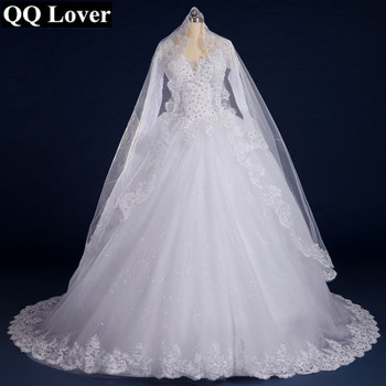 QQ Lover Luxury Vintage Full Sleeves Lace Wedding Dress 2019 Ball Gown Princess Bridal Wedding Gowns Vestido De Noiva