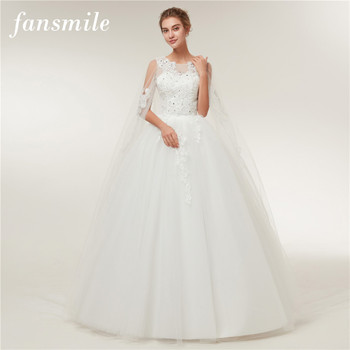 Fansmile Real Photo Cheap Vintage Lace Ball Wedding Dresses 2019 Vestido de Novia Customized Plus Size Bridal Gowns FSM-370F